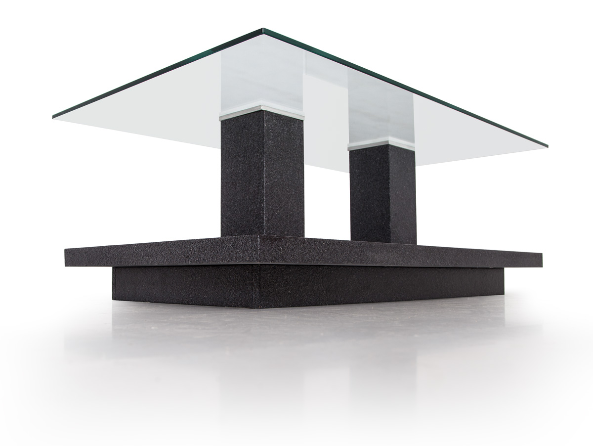 TOWER I Couchtisch Granit OptikGlas