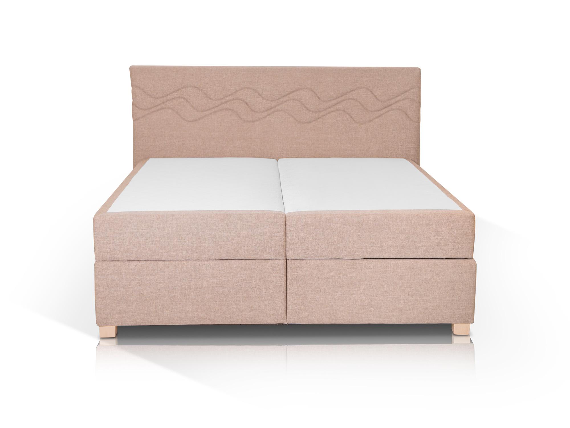 wave boxspringbett mit stoffbezug inklusive bettkasten 200 x 200 cm beige h rtegrad 3. Black Bedroom Furniture Sets. Home Design Ideas