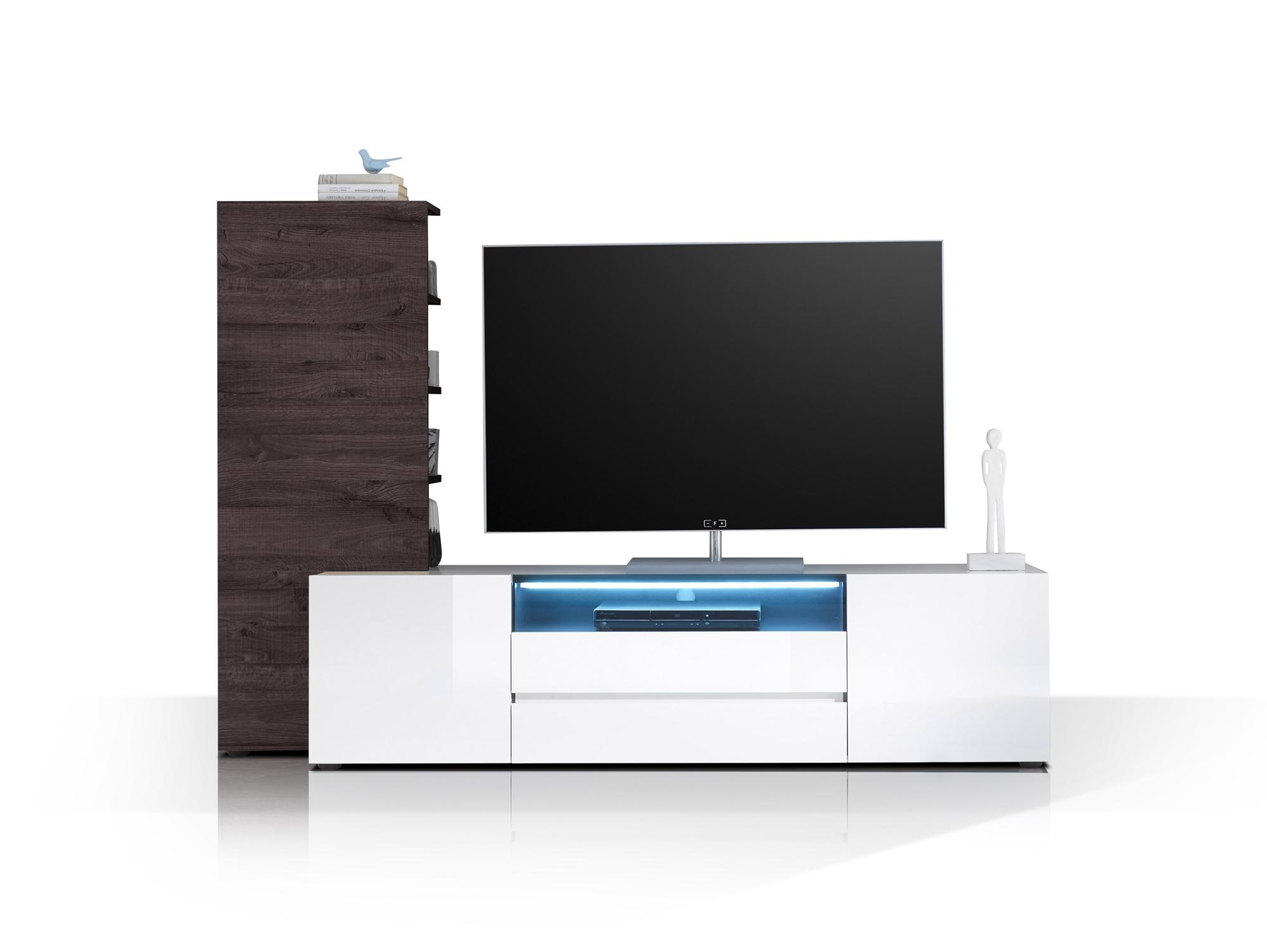 venedig iii wohnwand weiss hochglanz weiss eiche wenge. Black Bedroom Furniture Sets. Home Design Ideas
