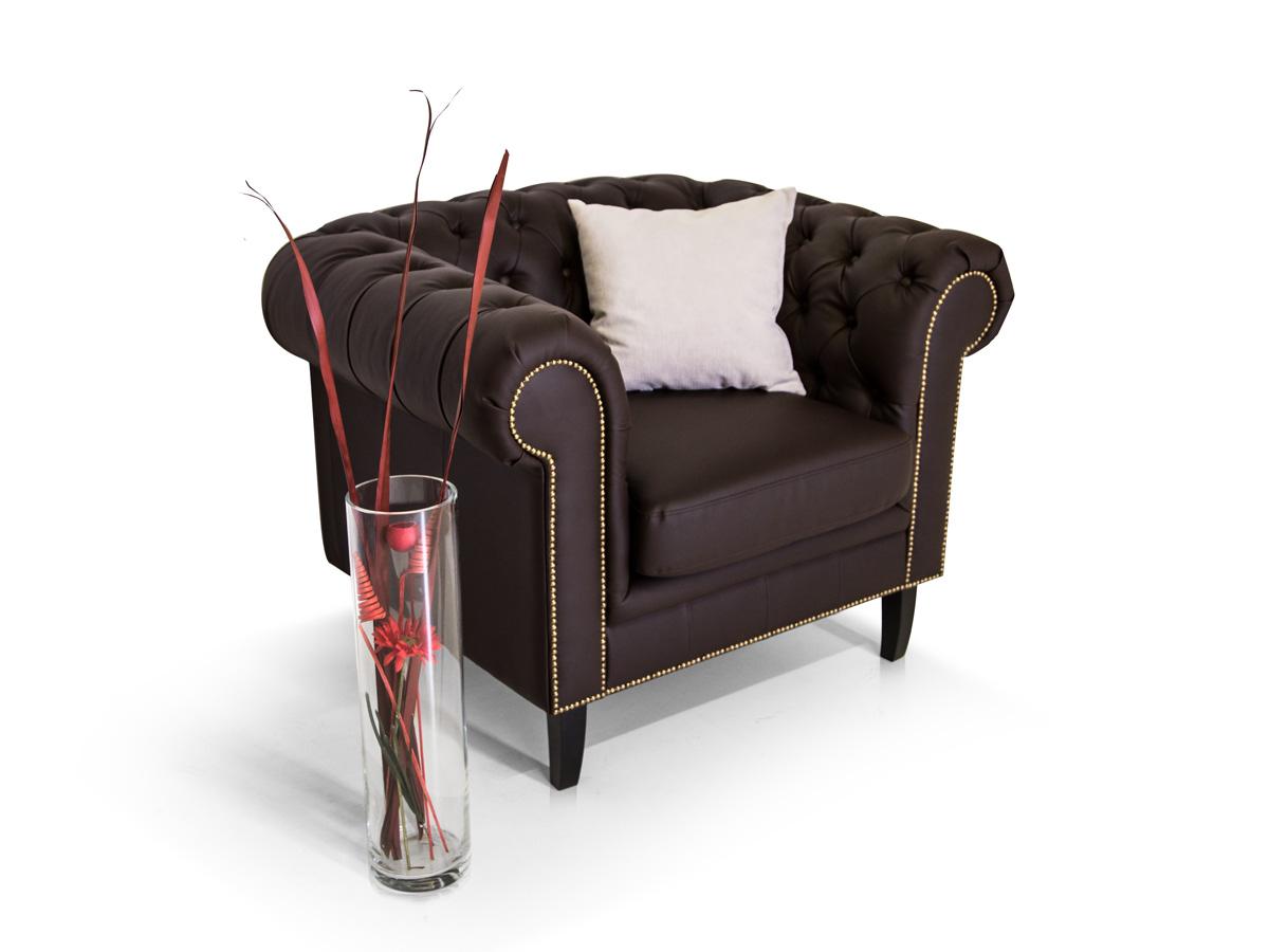 Chesterfield santos 3 2 1 sofa garnitur kunstleder braun for Couch 3 2 1 garnitur