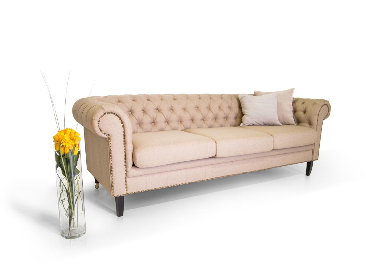 chesterfield 3er sofa santos stoffbezug cappuccino. Black Bedroom Furniture Sets. Home Design Ideas