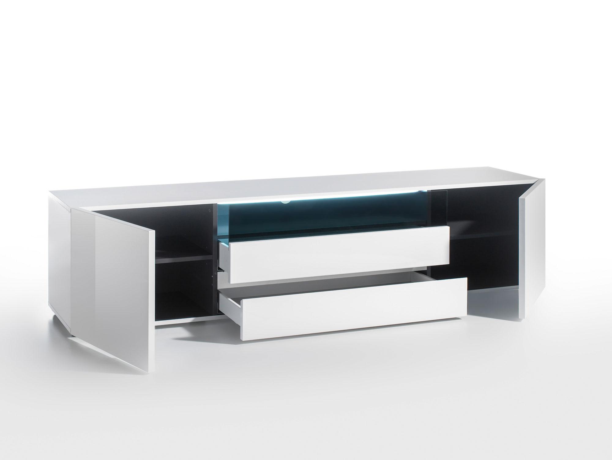 venedig wohnwand weiss hochglanz dekor weiss eiche natur. Black Bedroom Furniture Sets. Home Design Ideas