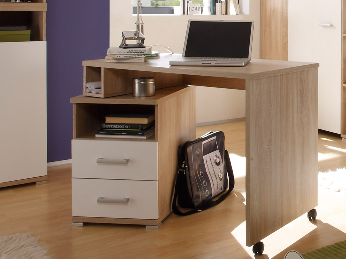 cassian komplett-schlafzimmer eiche sonoma/weiß - Schreibtisch Im Schlafzimmer