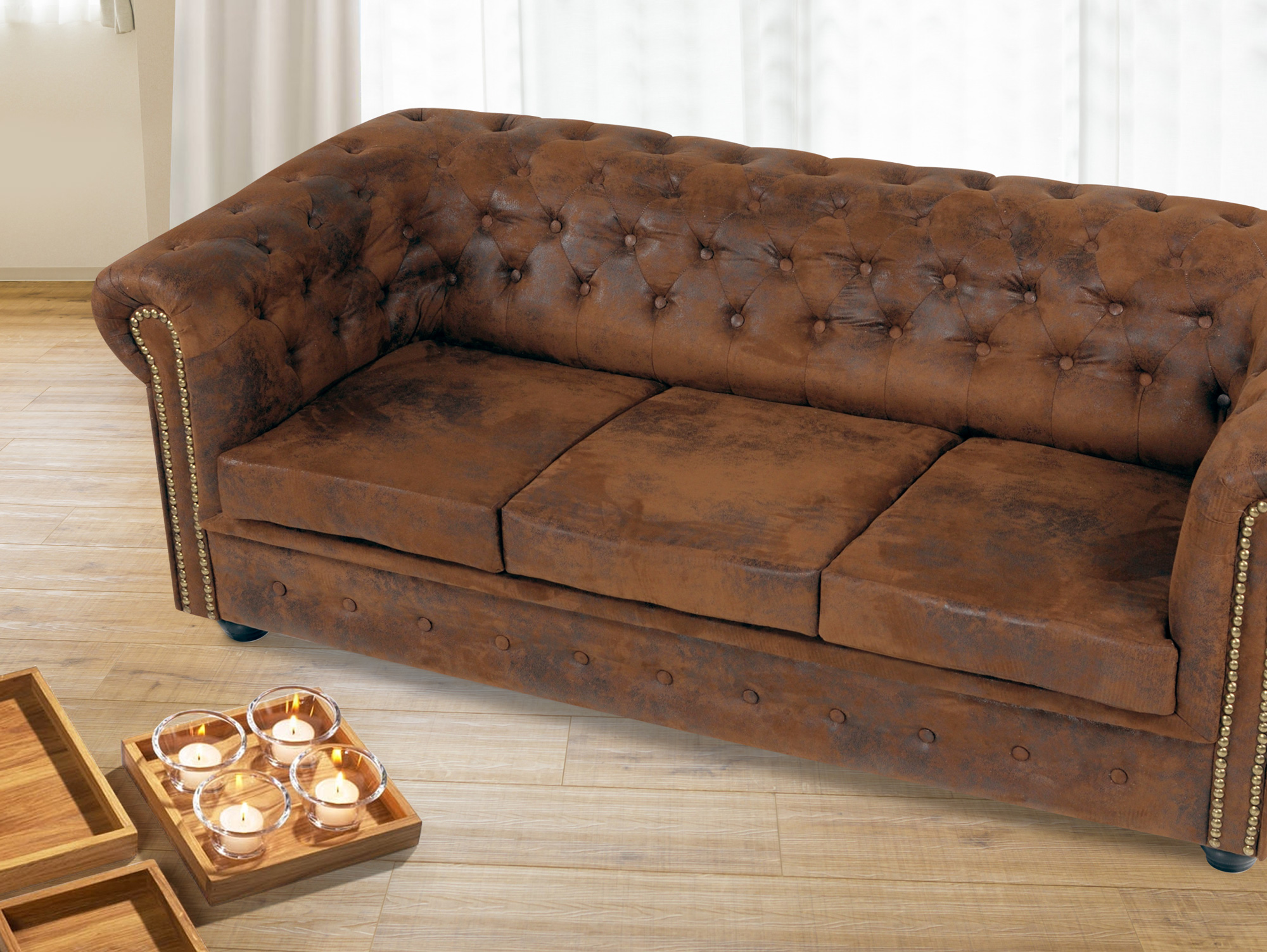 chesterfield 3 sitzer sofa gobi braun. Black Bedroom Furniture Sets. Home Design Ideas