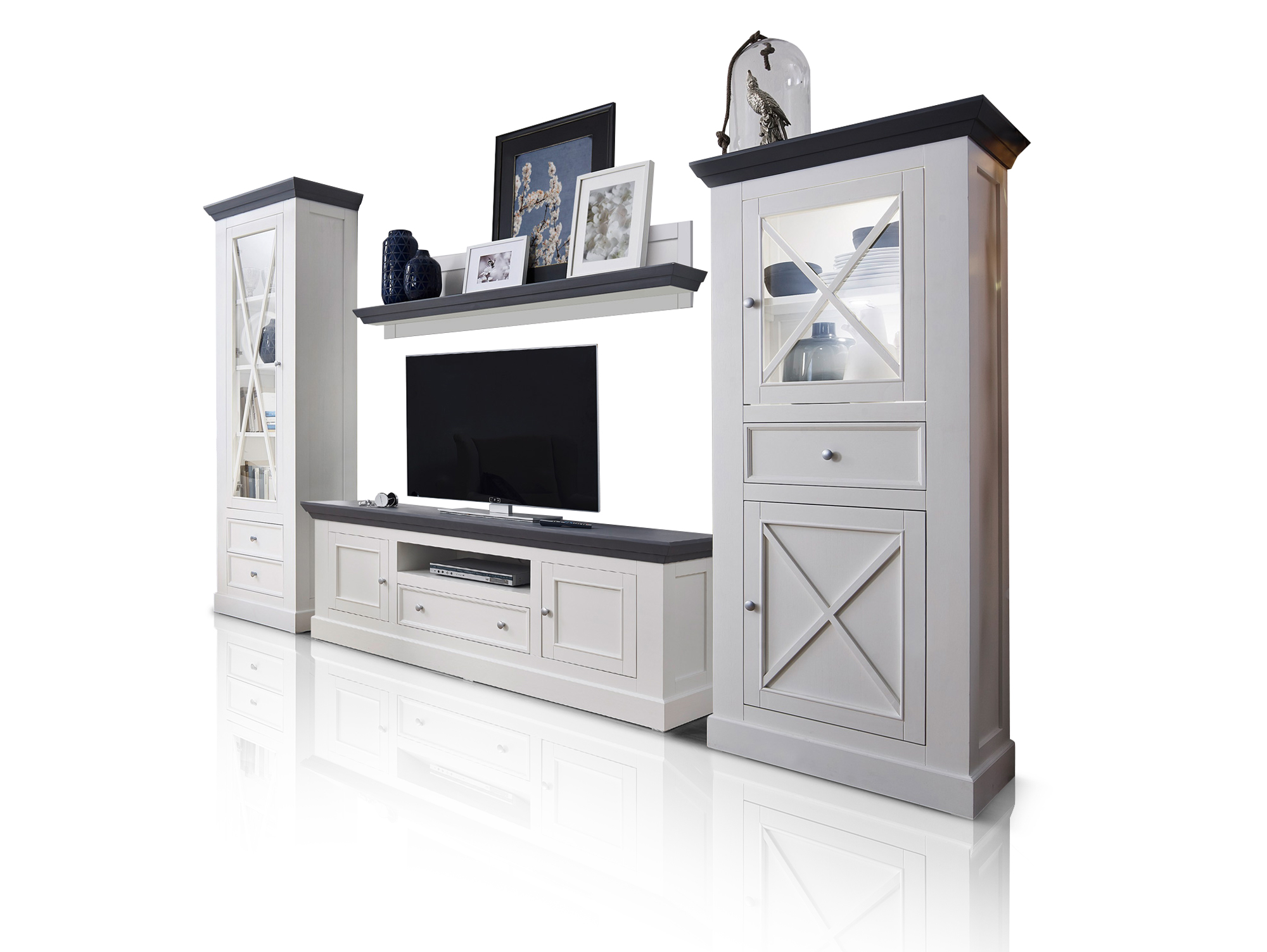 graz wohnwand weiss lackiert. Black Bedroom Furniture Sets. Home Design Ideas