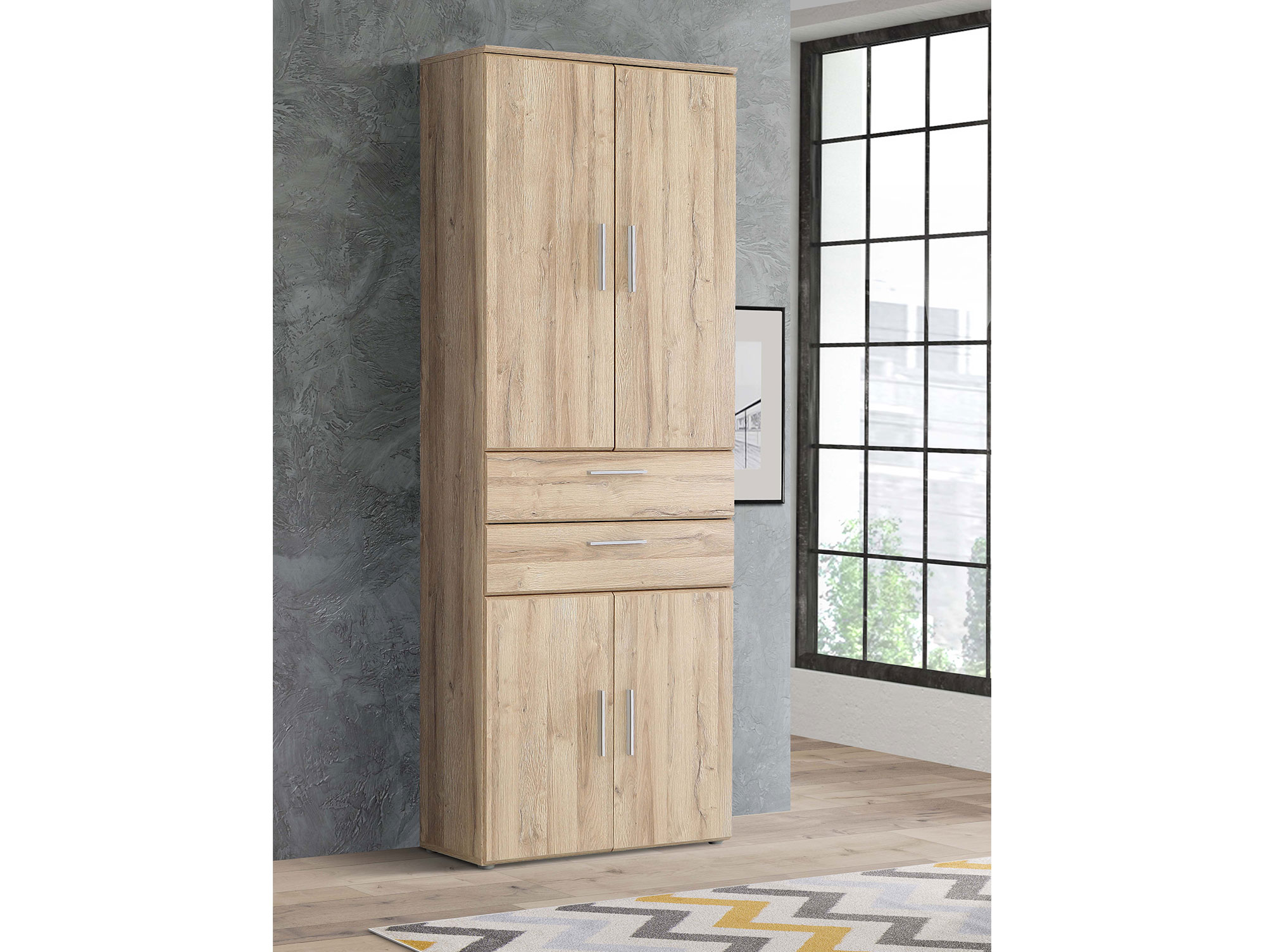 maraun schrank 4 t ren 2 schubk sten material dekorspanplatte eiche biancofarben. Black Bedroom Furniture Sets. Home Design Ideas