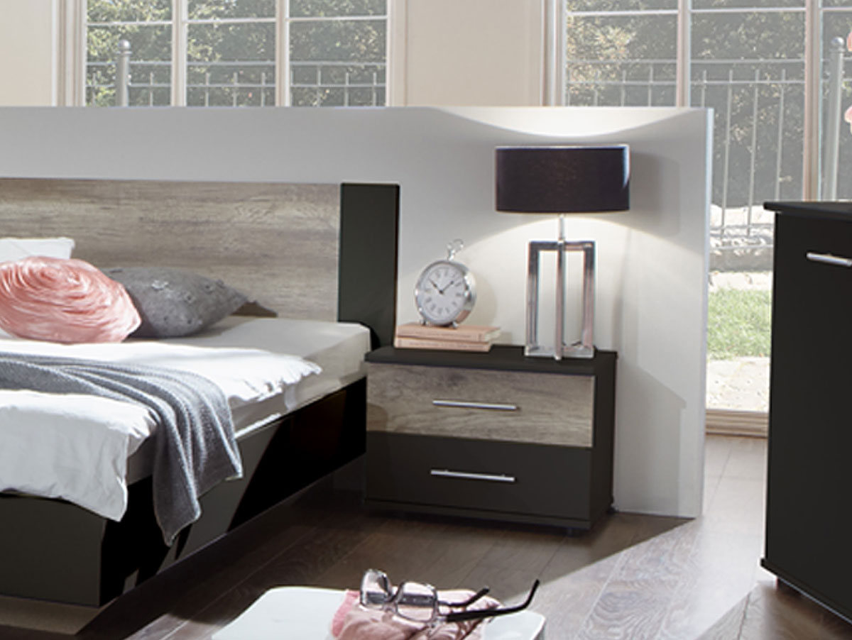 flores i komplett schlafzimmer 180 x 200 cm lavagrau wildeiche. Black Bedroom Furniture Sets. Home Design Ideas