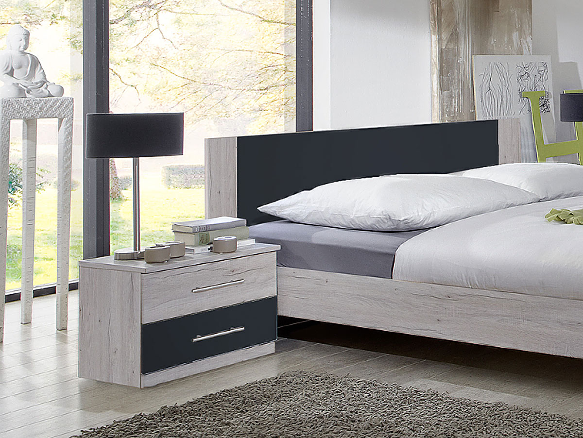 flores i komplett schlafzimmer 160 x 200 cm wei eiche anthrazit. Black Bedroom Furniture Sets. Home Design Ideas