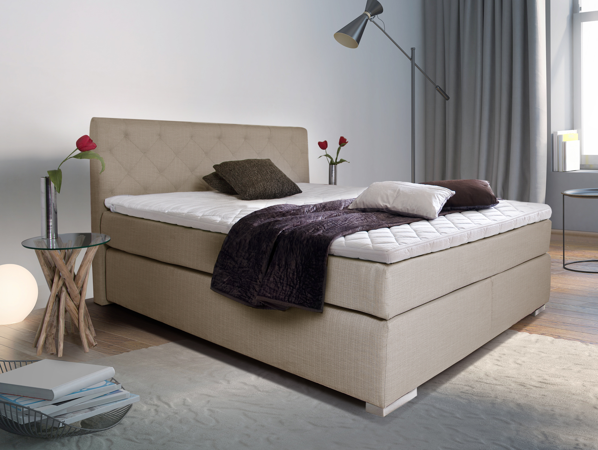 premium boxspringbett inkl kopfteil 90 x 200 cm beige. Black Bedroom Furniture Sets. Home Design Ideas