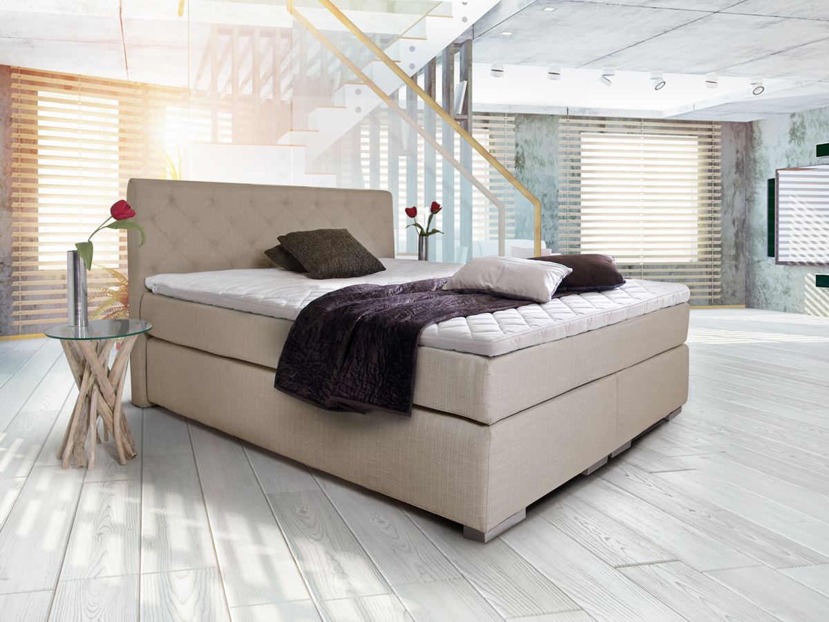 premium boxspringbett inkl kopfteil 180 x 200 cm beige h rtegrad 3. Black Bedroom Furniture Sets. Home Design Ideas