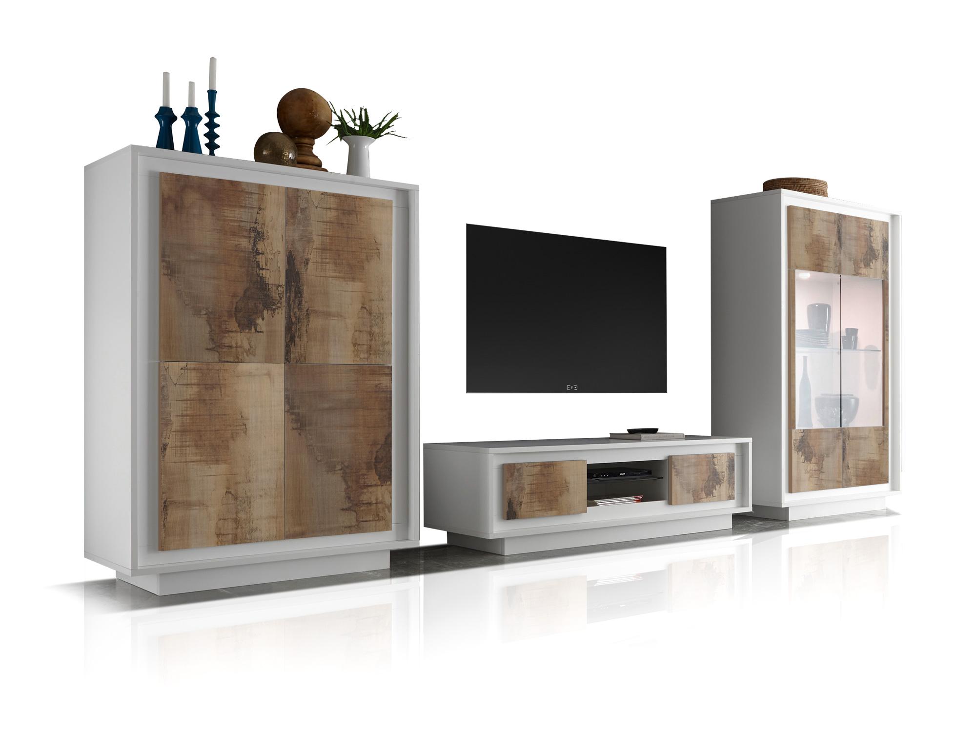 santafee wohnwand weiss pero braun. Black Bedroom Furniture Sets. Home Design Ideas
