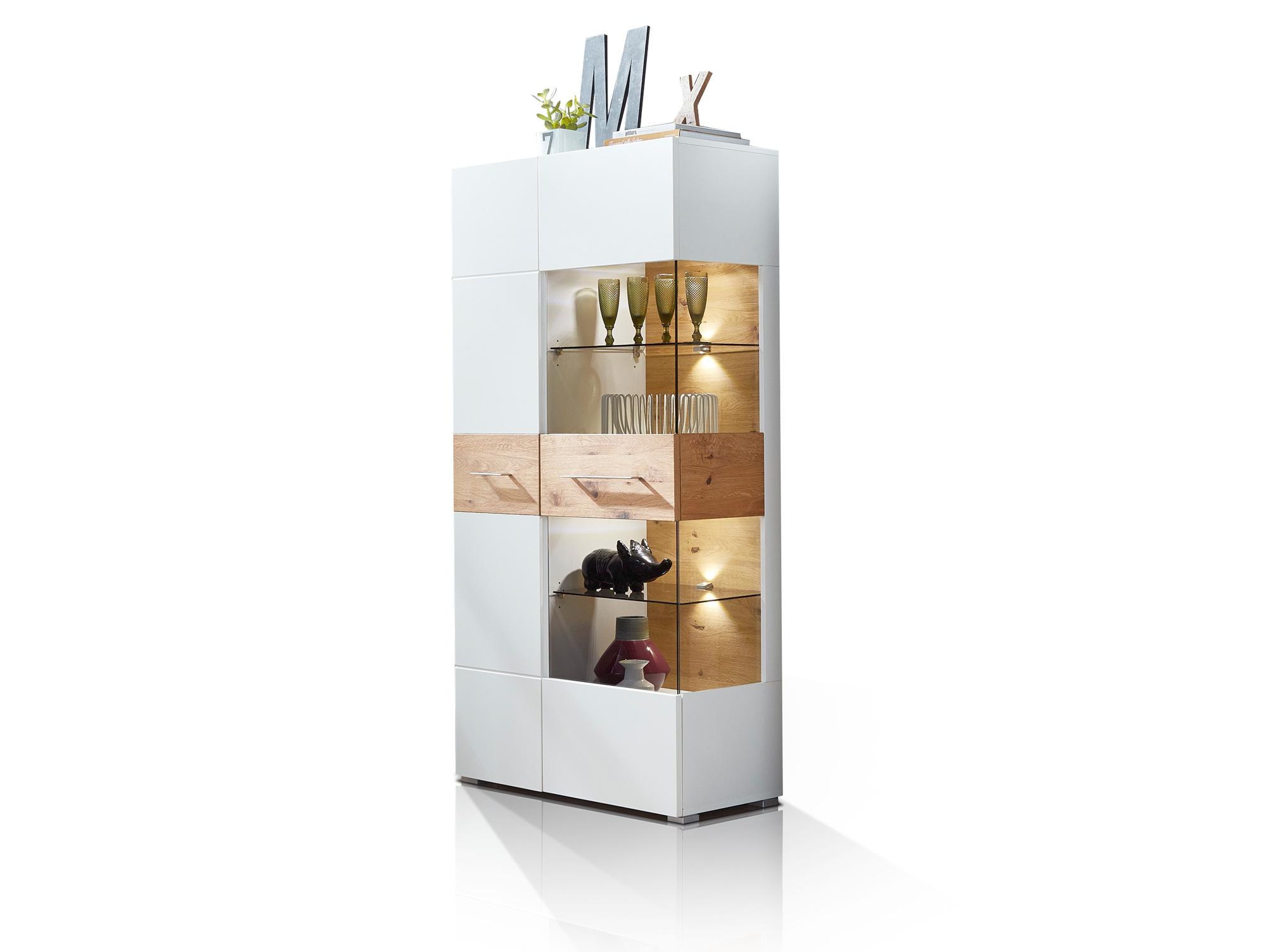 fox vitrine wei wildeiche. Black Bedroom Furniture Sets. Home Design Ideas