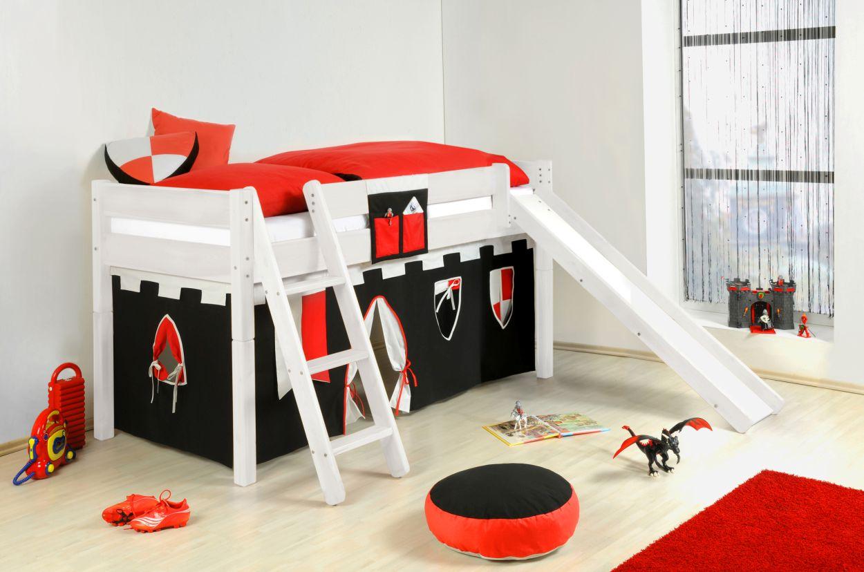 yogi spielbett leiter rutsche 90x200 cm kiefer wei. Black Bedroom Furniture Sets. Home Design Ideas