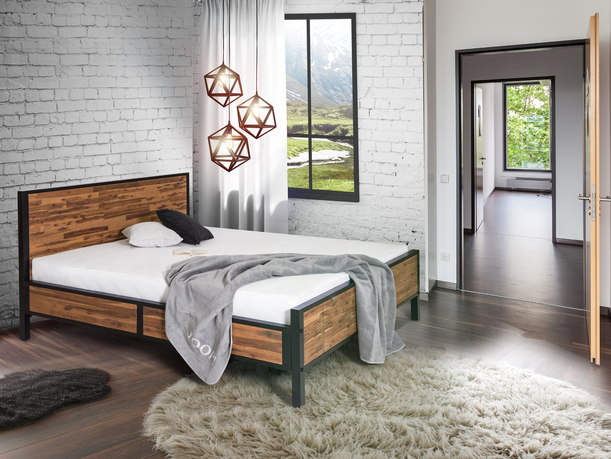 industrial massivholzbett 160 x 200 cm. Black Bedroom Furniture Sets. Home Design Ideas