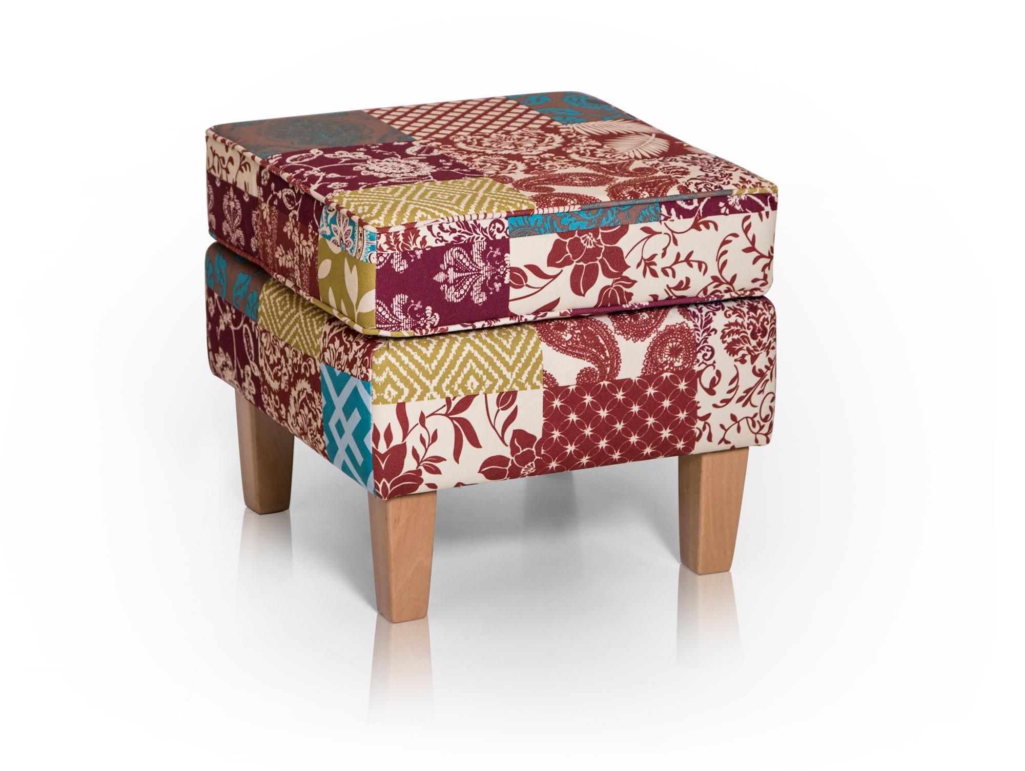 willy ohrensessel hocker patchwork bunt. Black Bedroom Furniture Sets. Home Design Ideas