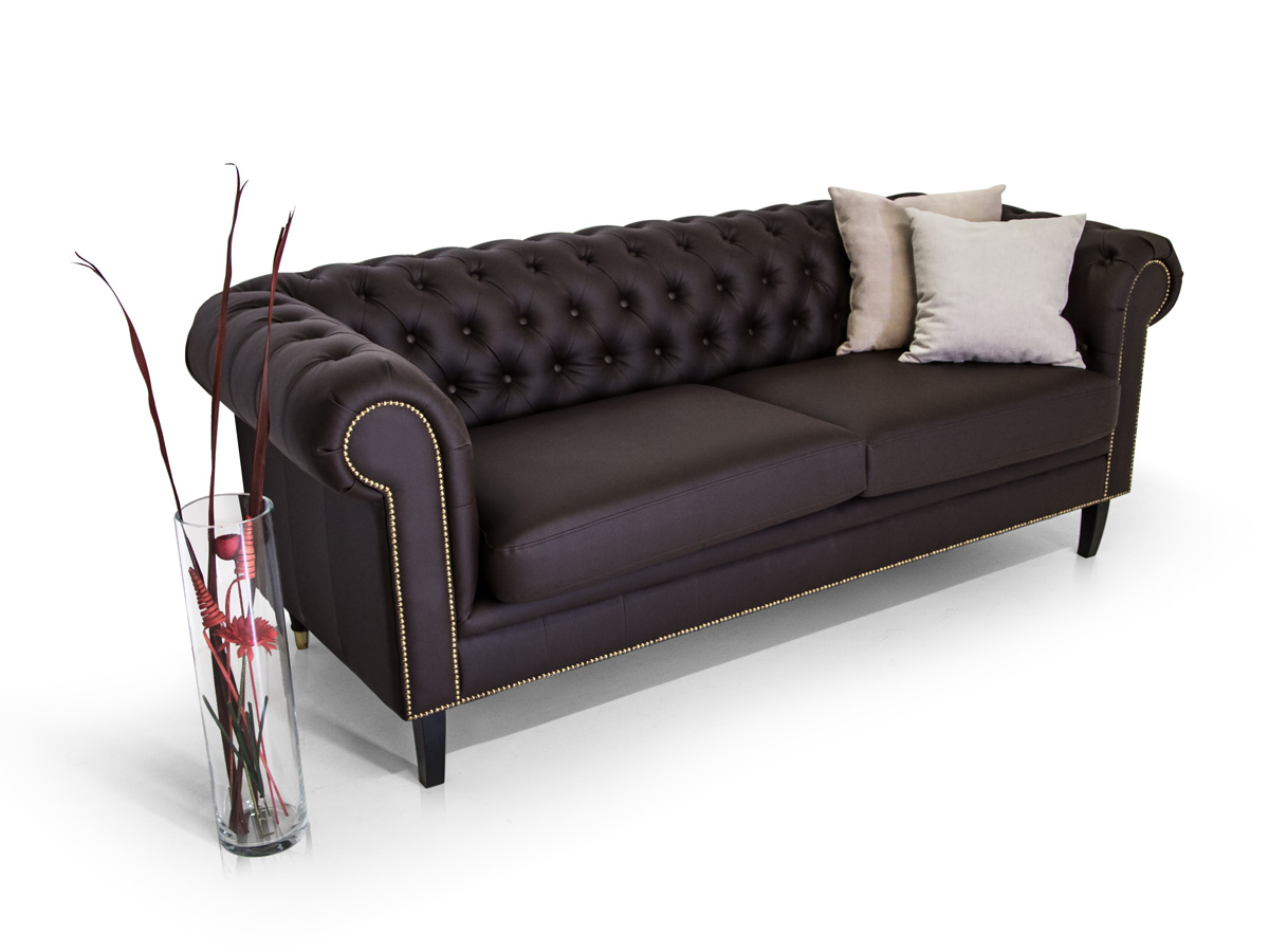 chesterfield santos 3 2 1 sofa garnitur kunstleder braun. Black Bedroom Furniture Sets. Home Design Ideas
