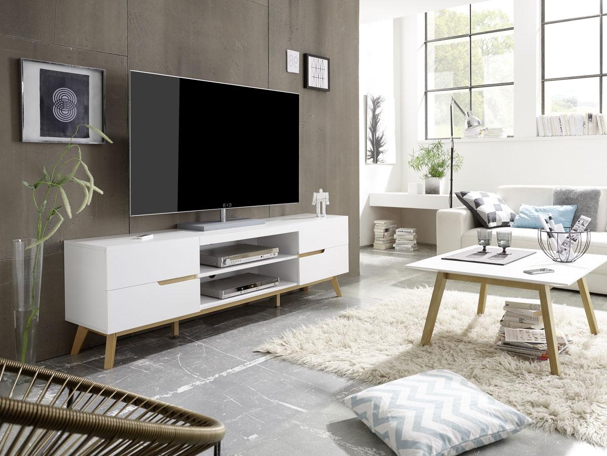 cava lowboard matt weiss eichefarbig. Black Bedroom Furniture Sets. Home Design Ideas