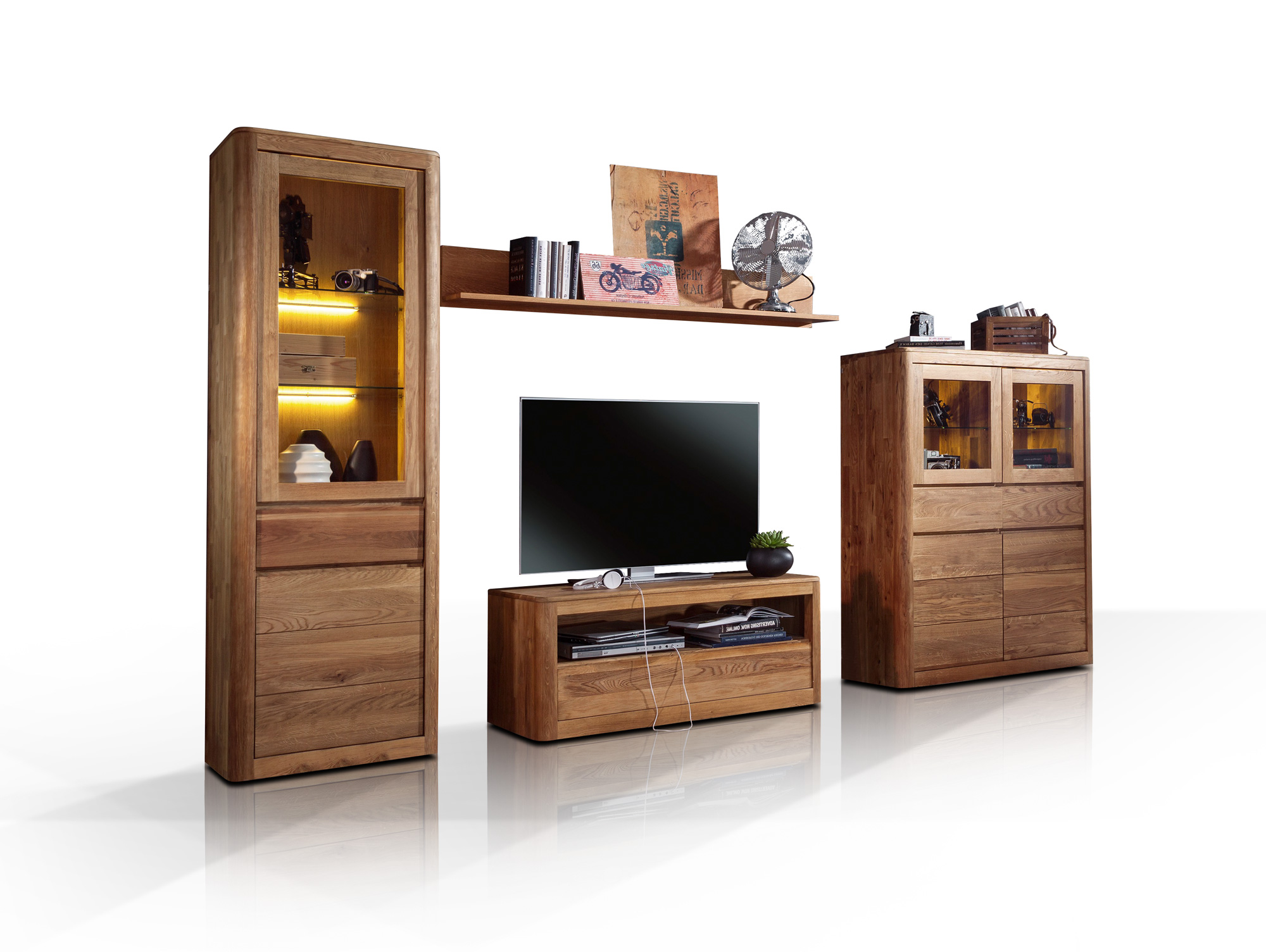 astoria wohnwand wildeiche massiv ge lt. Black Bedroom Furniture Sets. Home Design Ideas