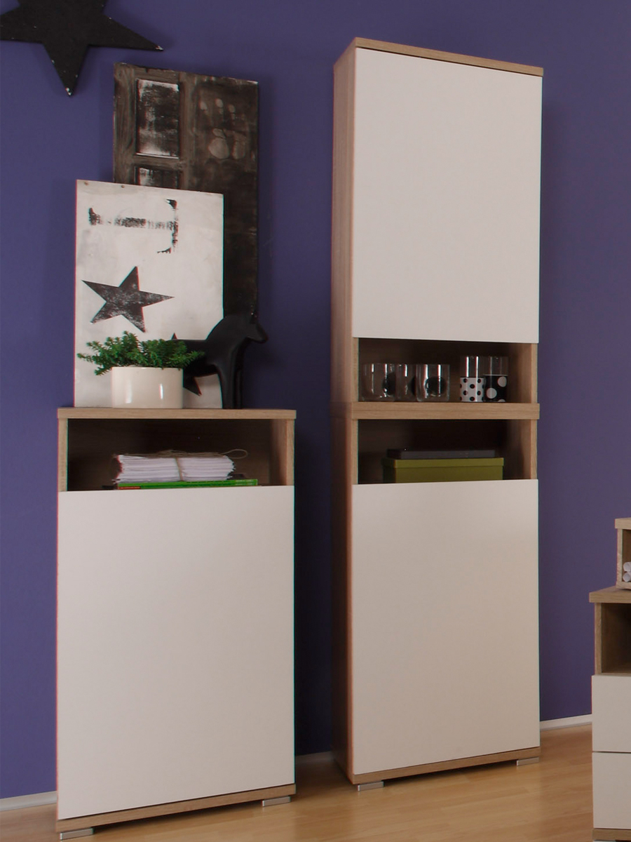 cassian komplett schlafzimmer eiche sonoma wei. Black Bedroom Furniture Sets. Home Design Ideas