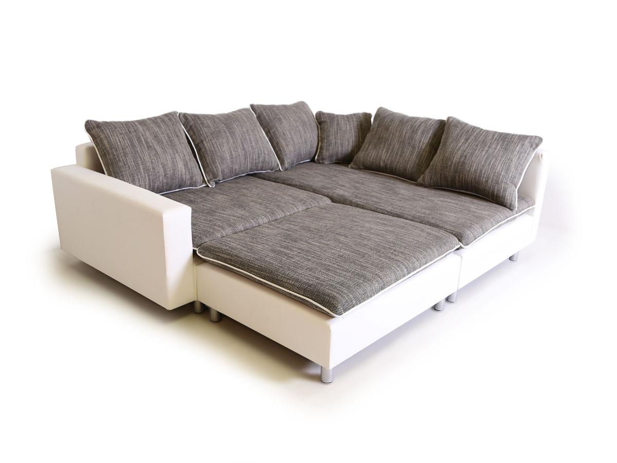 daggi ecksofa sofa couch weiss hellgrau links. Black Bedroom Furniture Sets. Home Design Ideas