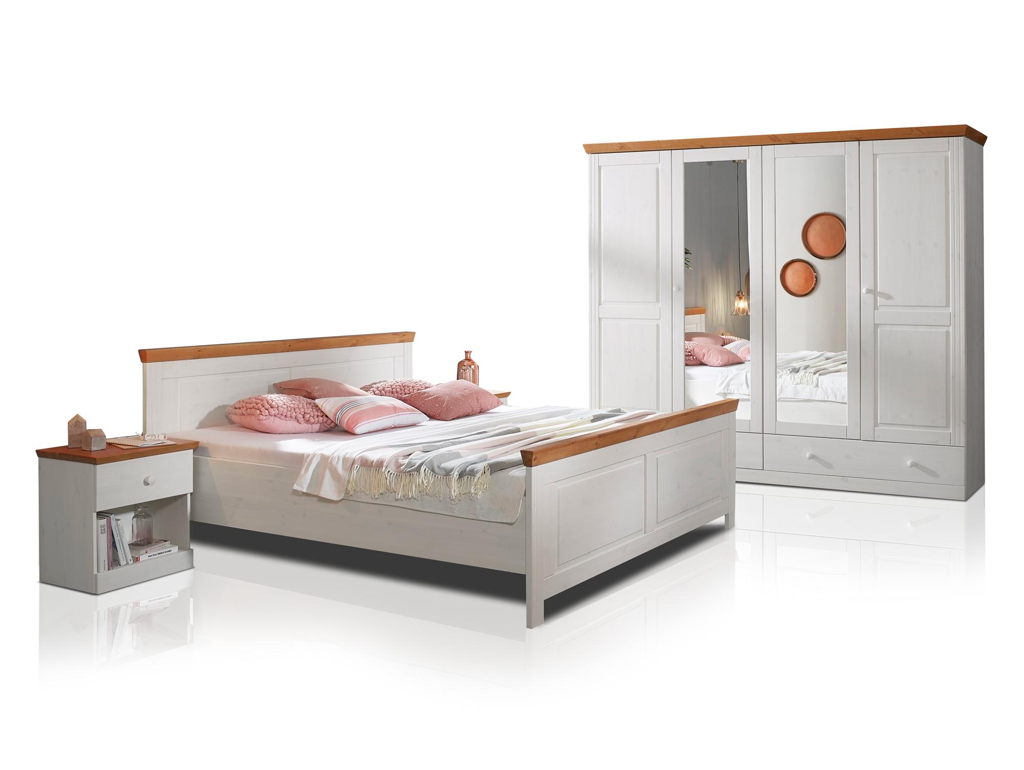 dover schlafzimmer kiefer wei honig. Black Bedroom Furniture Sets. Home Design Ideas