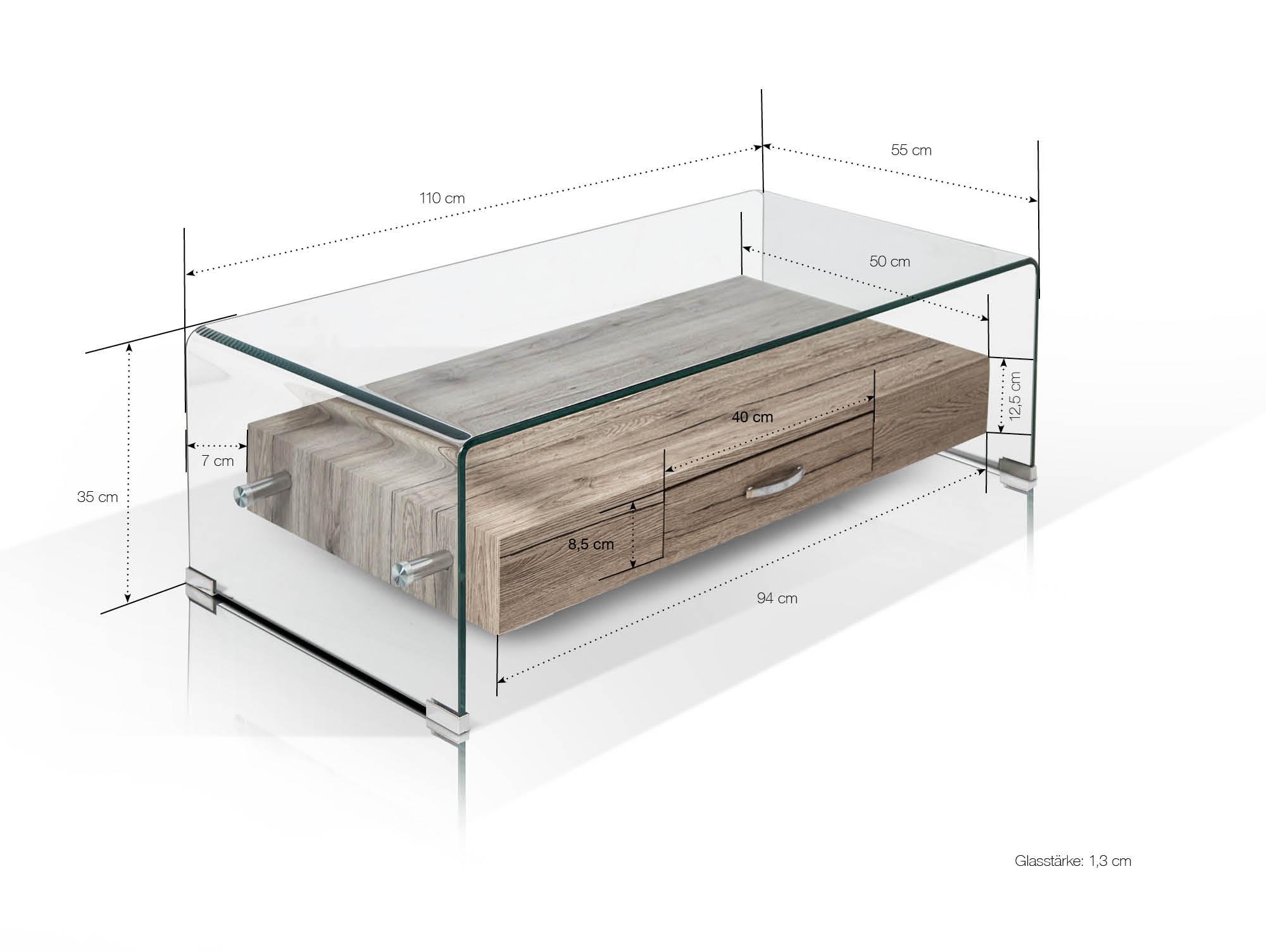 Lisa Couchtisch 110x35 Cm Material Glasdekorspanplatte