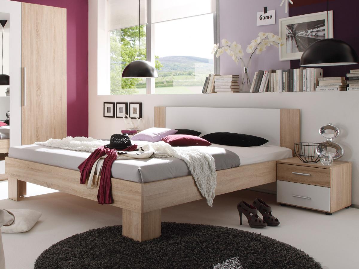 martina komplett-schlafzimmer eiche sonoma/weiß - Design Schlafzimmer Komplett