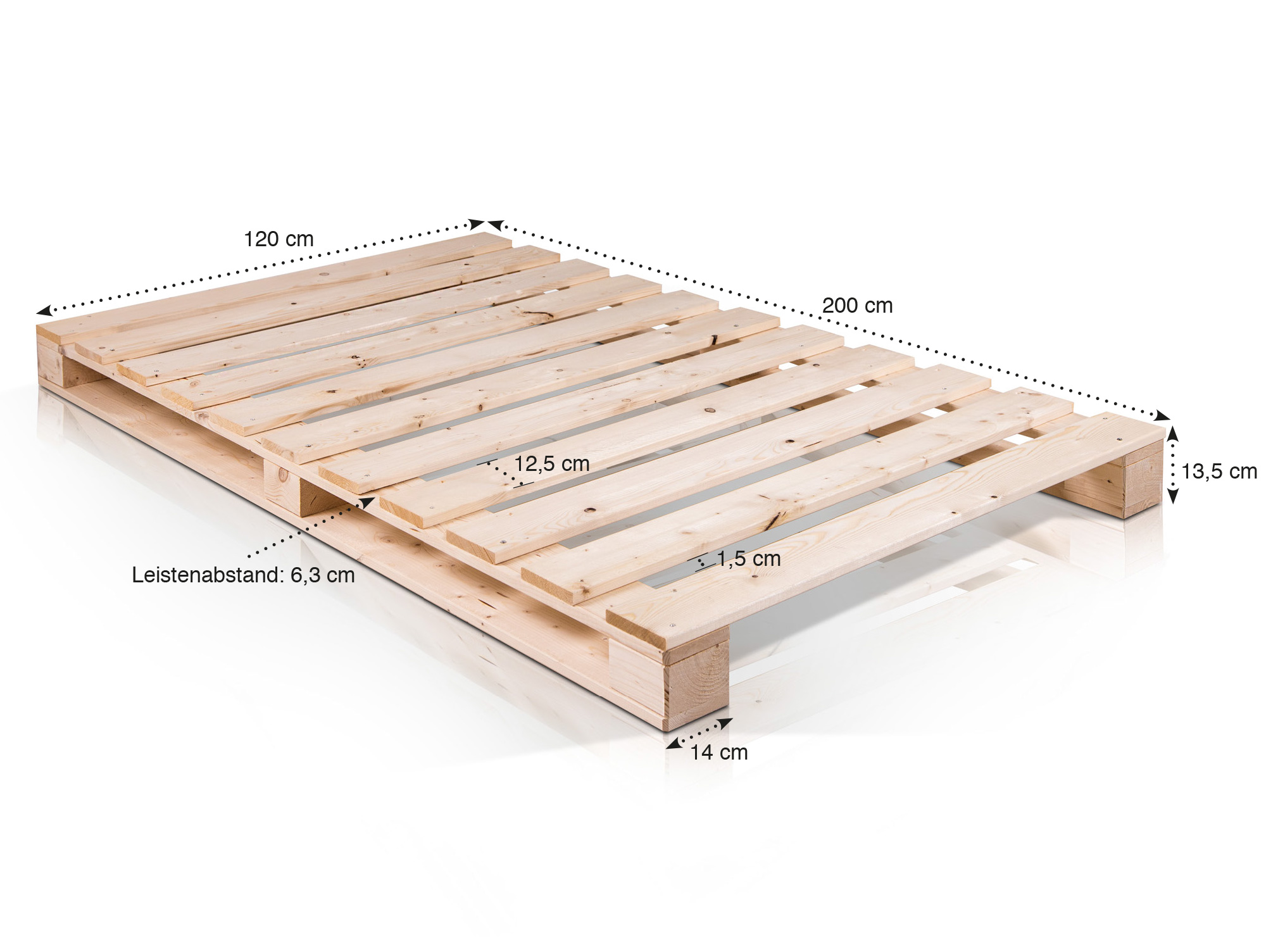 paletti massivholzbett aus paletten 120 x 200 cm fichte. Black Bedroom Furniture Sets. Home Design Ideas