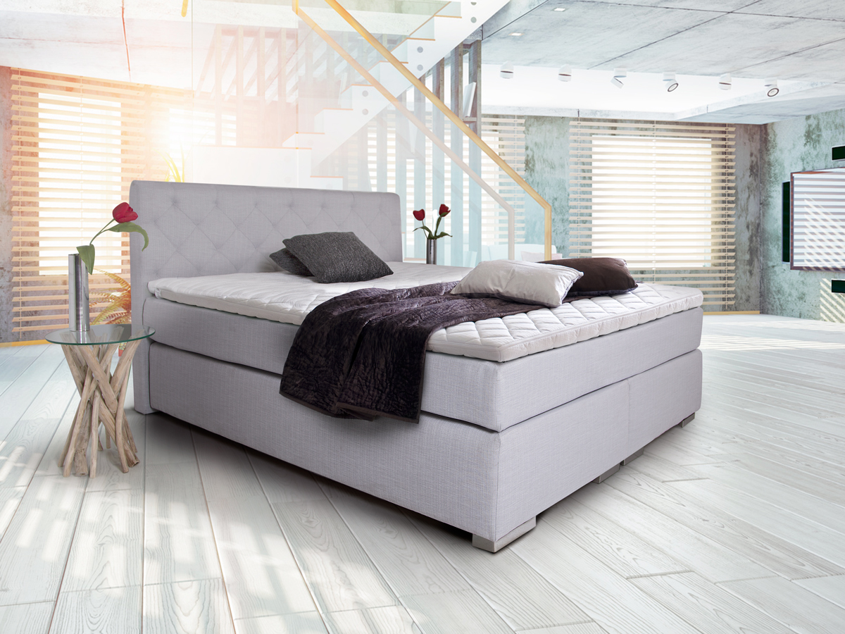 premium boxspringbett inkl kopfteil 180 x 200 cm grau h rtegrad 2 3. Black Bedroom Furniture Sets. Home Design Ideas