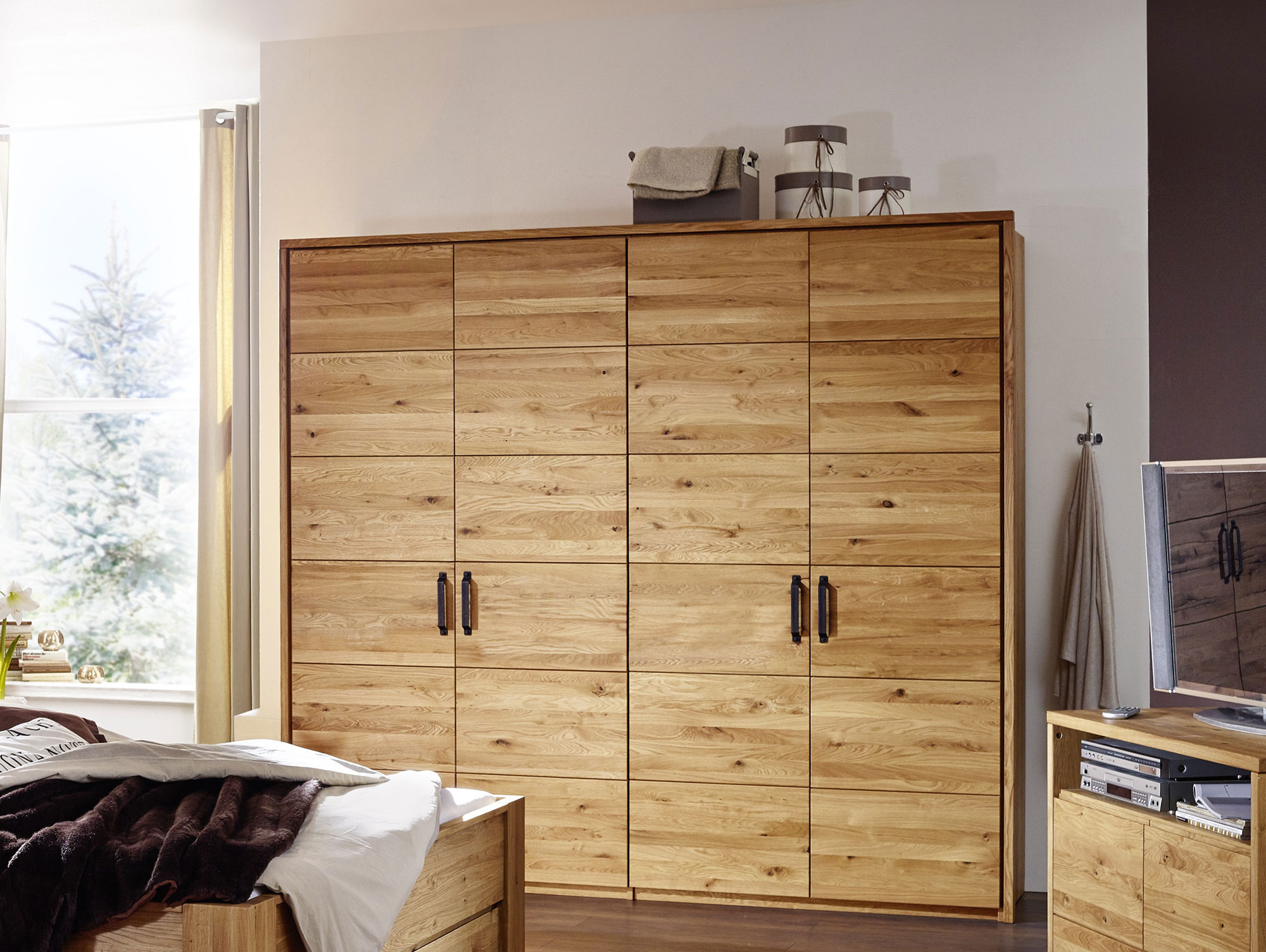 salvador massivholz kleiderschrank wildeiche ge lt 100 cm. Black Bedroom Furniture Sets. Home Design Ideas