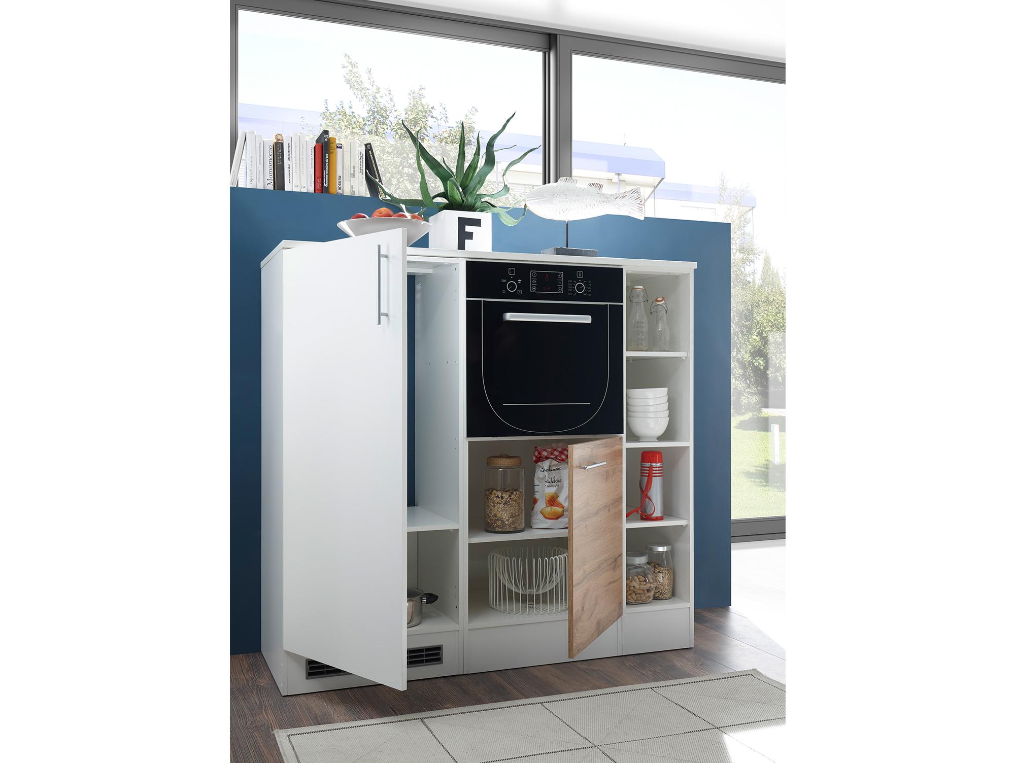 TONY Küche mit Geräteblock Dekor Weiß/Wildeiche