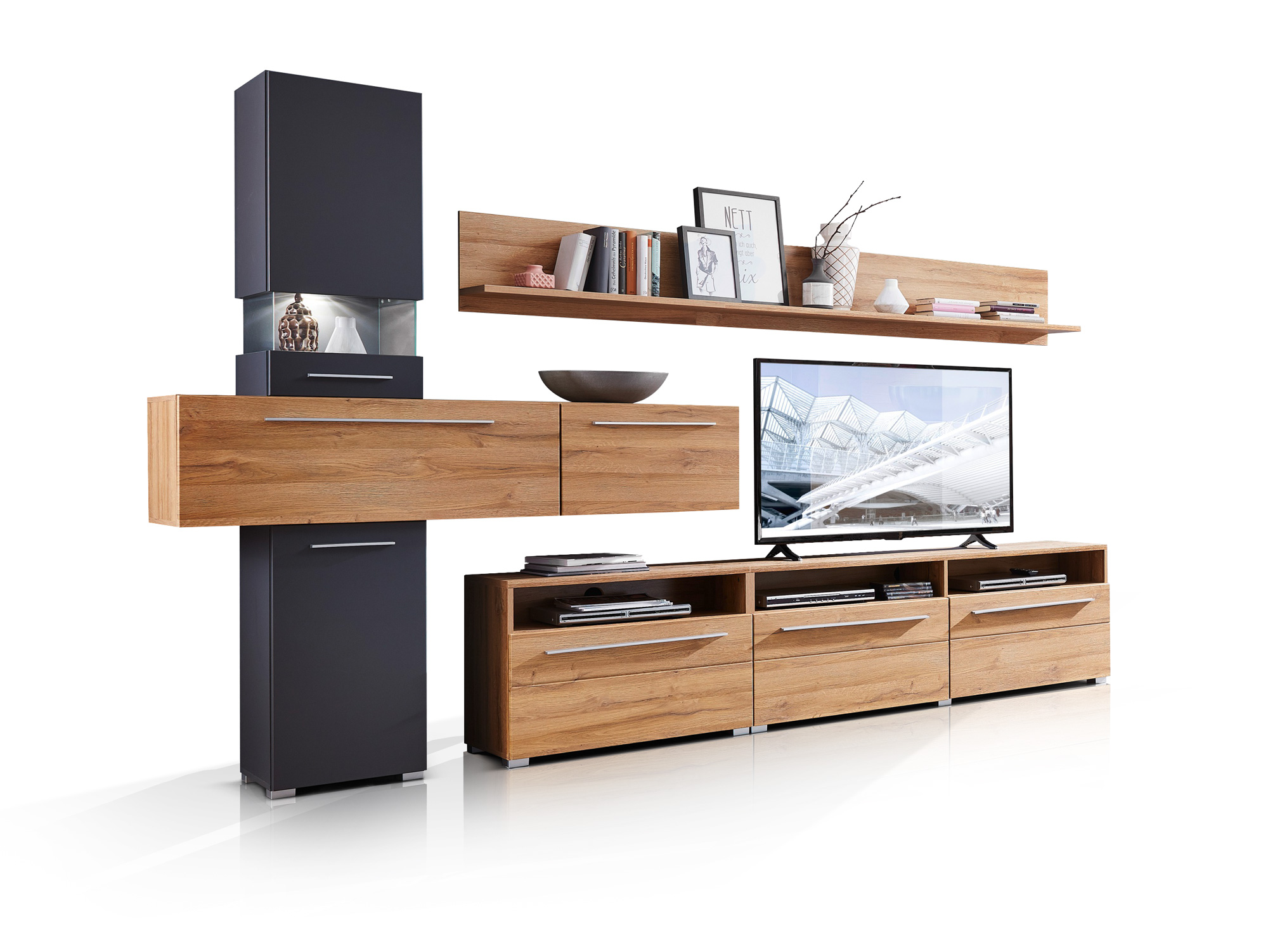 balia wohnwand inklusive led beleuchtung eiche graphit. Black Bedroom Furniture Sets. Home Design Ideas