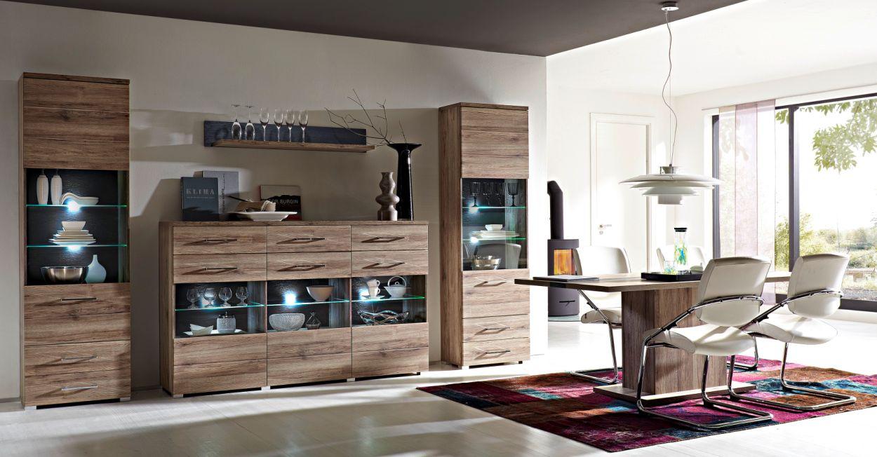 diego highboard san remo eiche schiefer. Black Bedroom Furniture Sets. Home Design Ideas