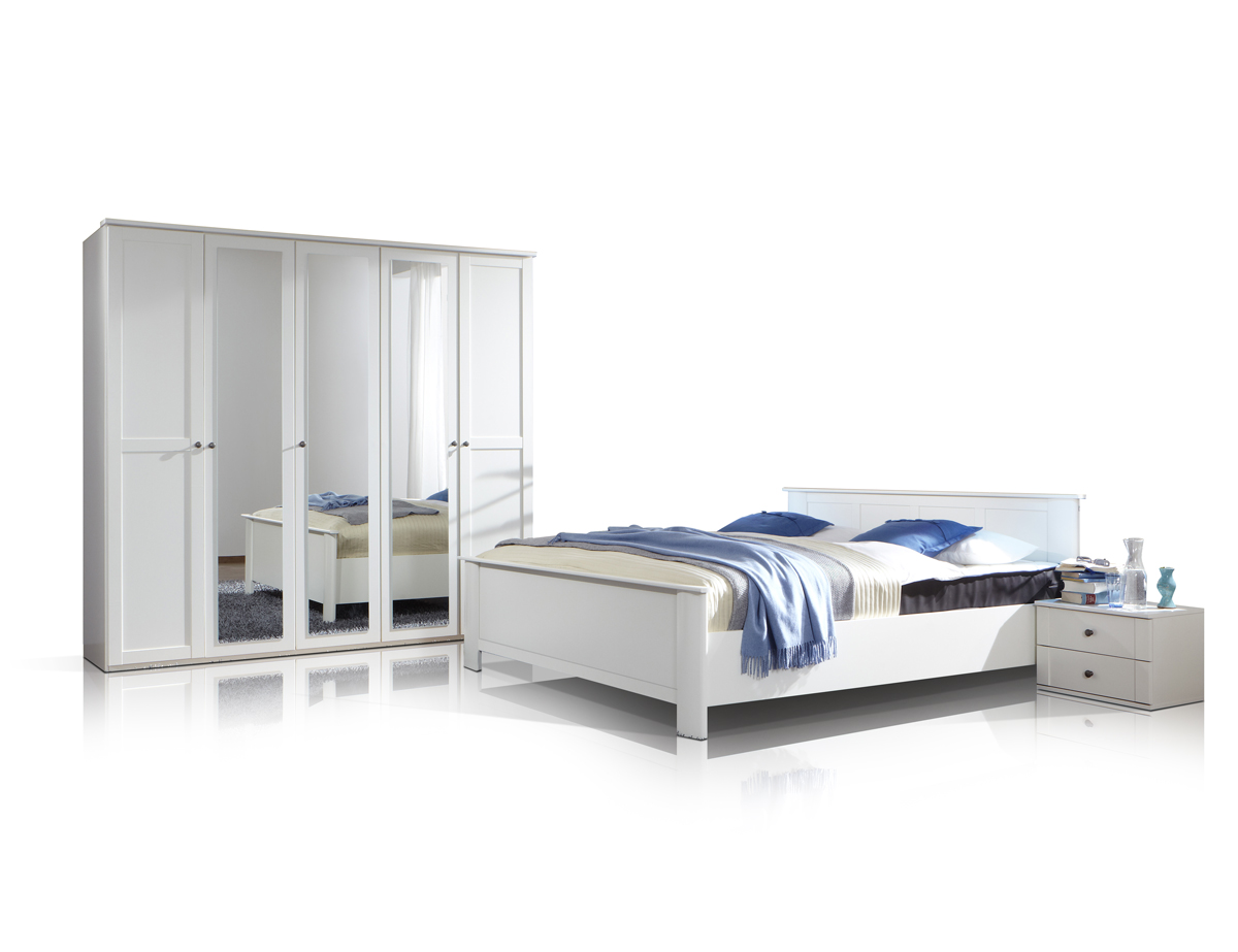 cabella komplett schlafzimmer weiss 180 cm 4 t rig. Black Bedroom Furniture Sets. Home Design Ideas