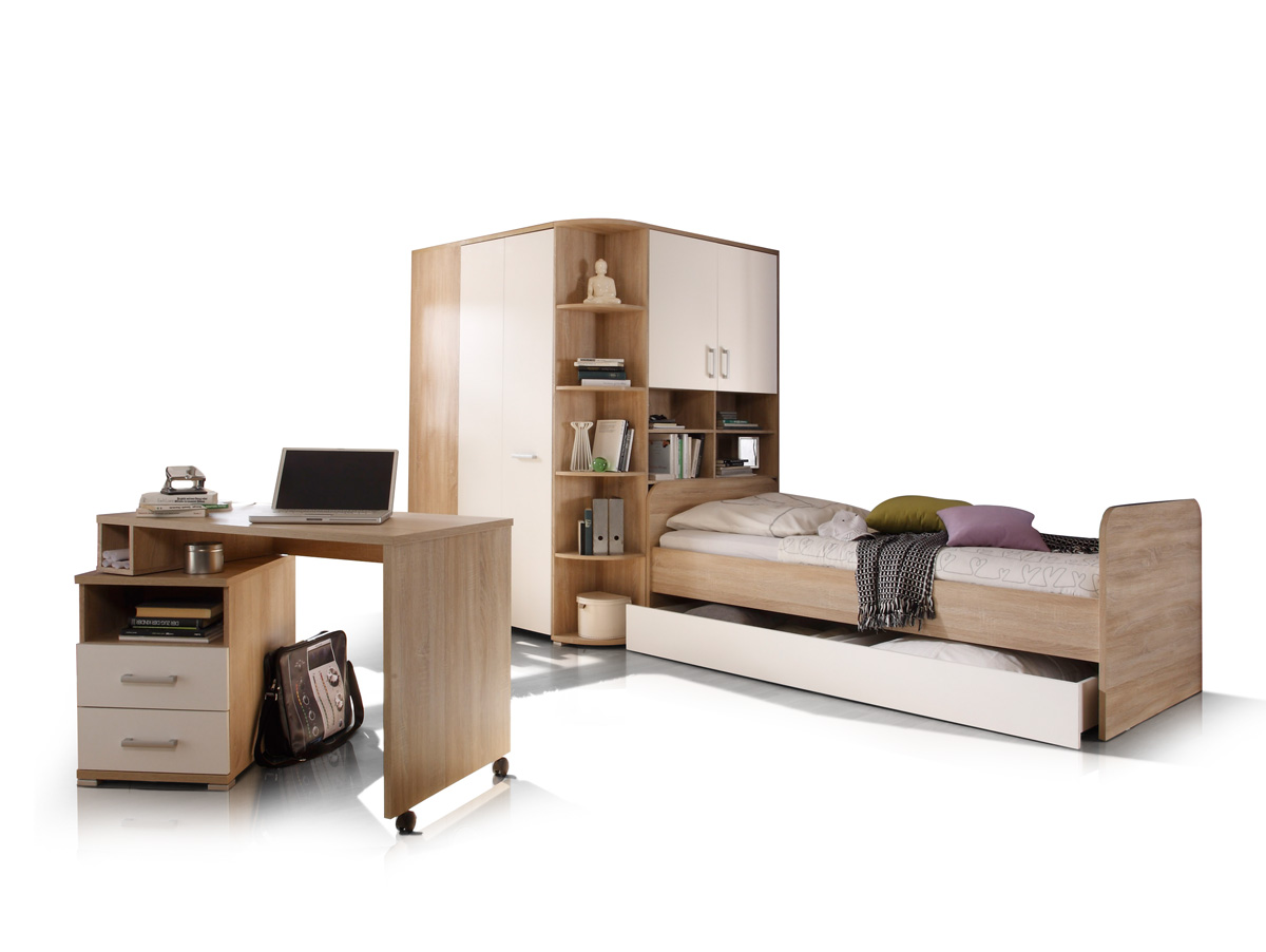 casper komplett schlafzimmer eiche sonoma wei. Black Bedroom Furniture Sets. Home Design Ideas
