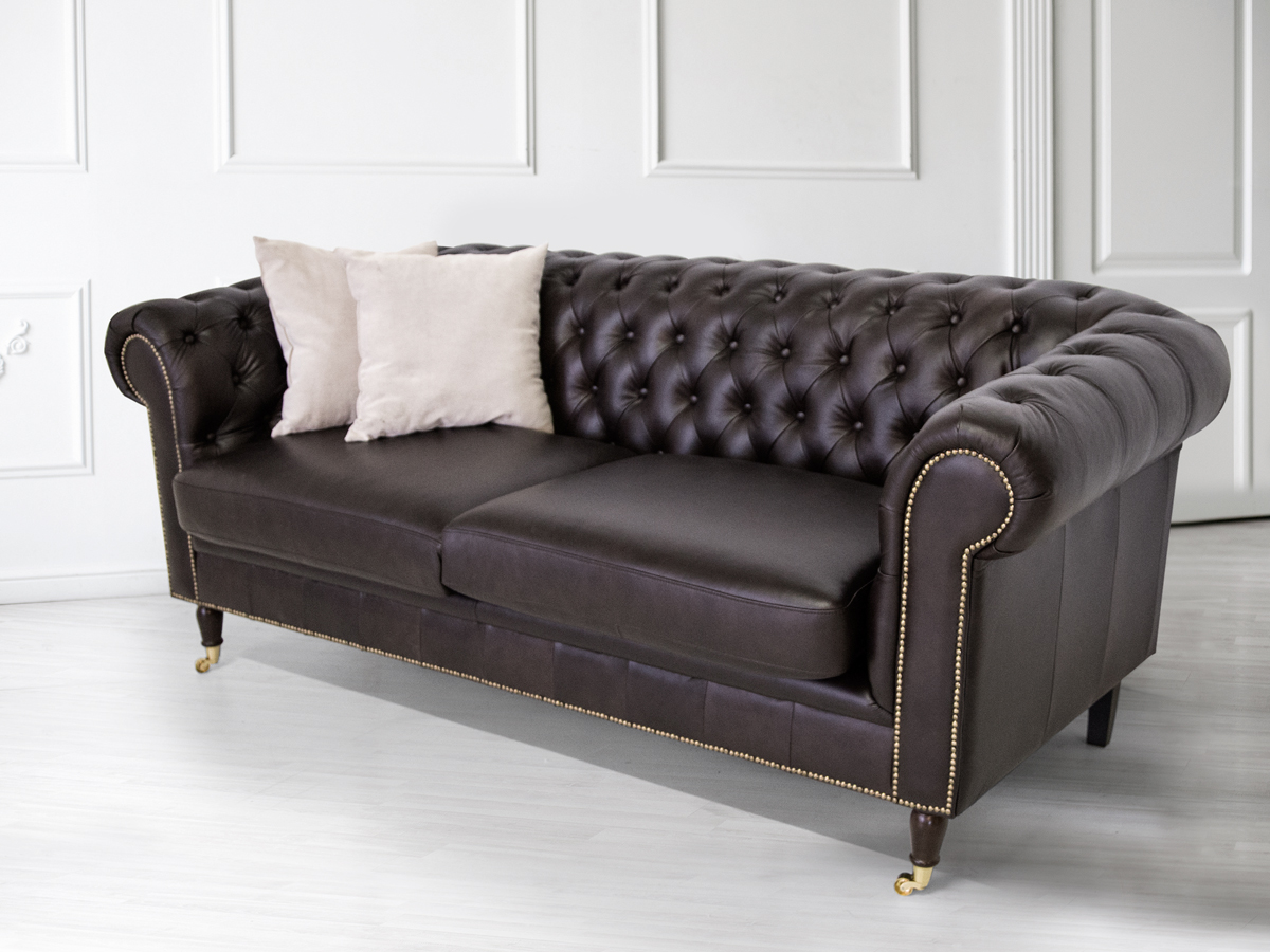 chesterfield 2er sofa santos echtleder braun. Black Bedroom Furniture Sets. Home Design Ideas