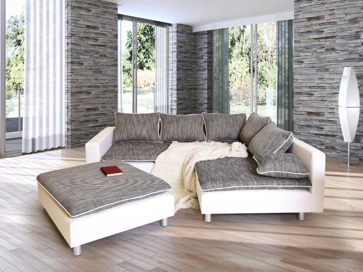 daggi ecksofa sofa couch weiss hellgrau rechts. Black Bedroom Furniture Sets. Home Design Ideas