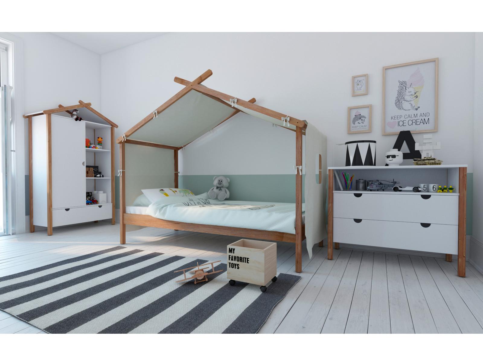 emili kinderbett 90x200 cm kiefer massiv weiss. Black Bedroom Furniture Sets. Home Design Ideas