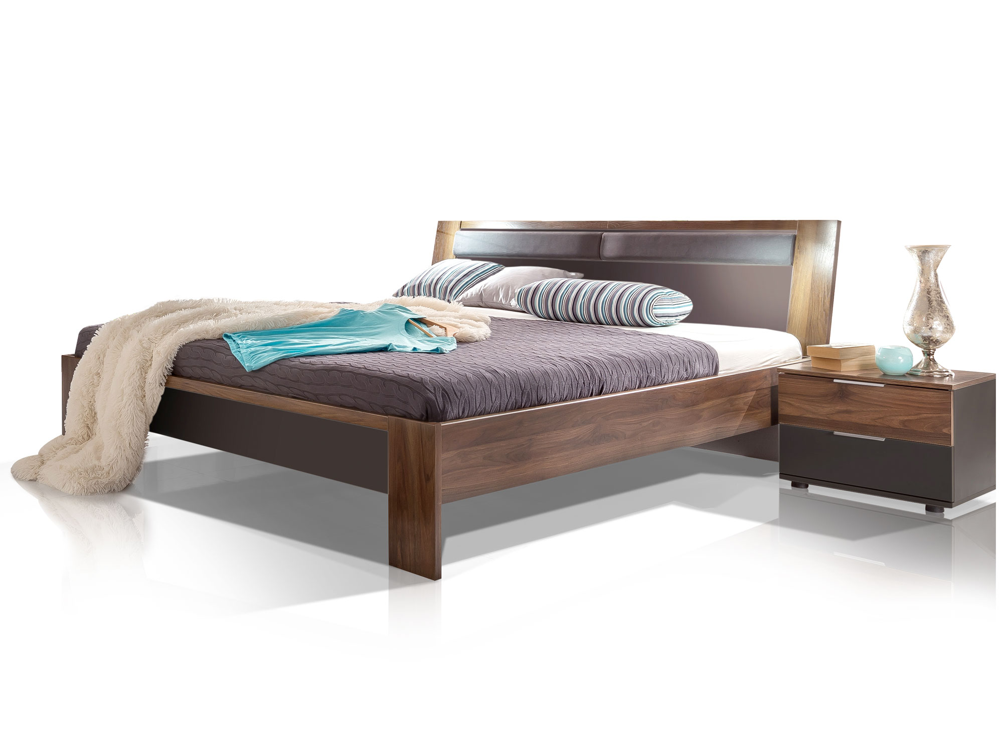 Famous futonbett 180 x 200 cm lavagrau nussbaum - Futonbett nussbaum ...