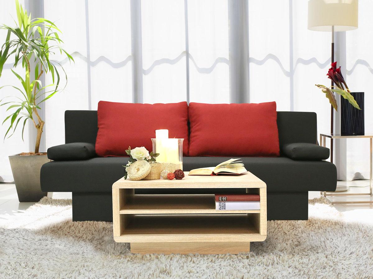 mike schlafsofa schlafcouch schwarz kissen rot. Black Bedroom Furniture Sets. Home Design Ideas