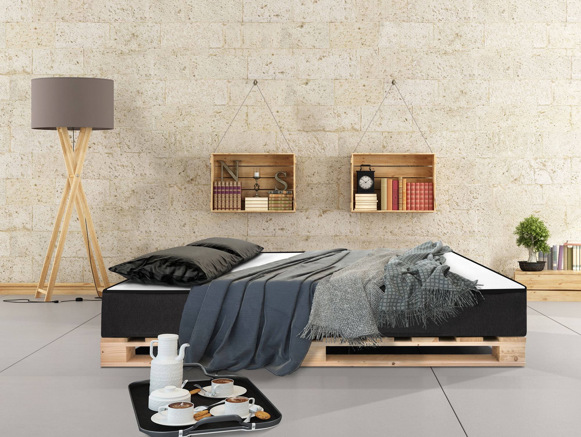 paletti massivholzbett palettenbett inkl moody matratze 90 x 200 cm fichte natur. Black Bedroom Furniture Sets. Home Design Ideas
