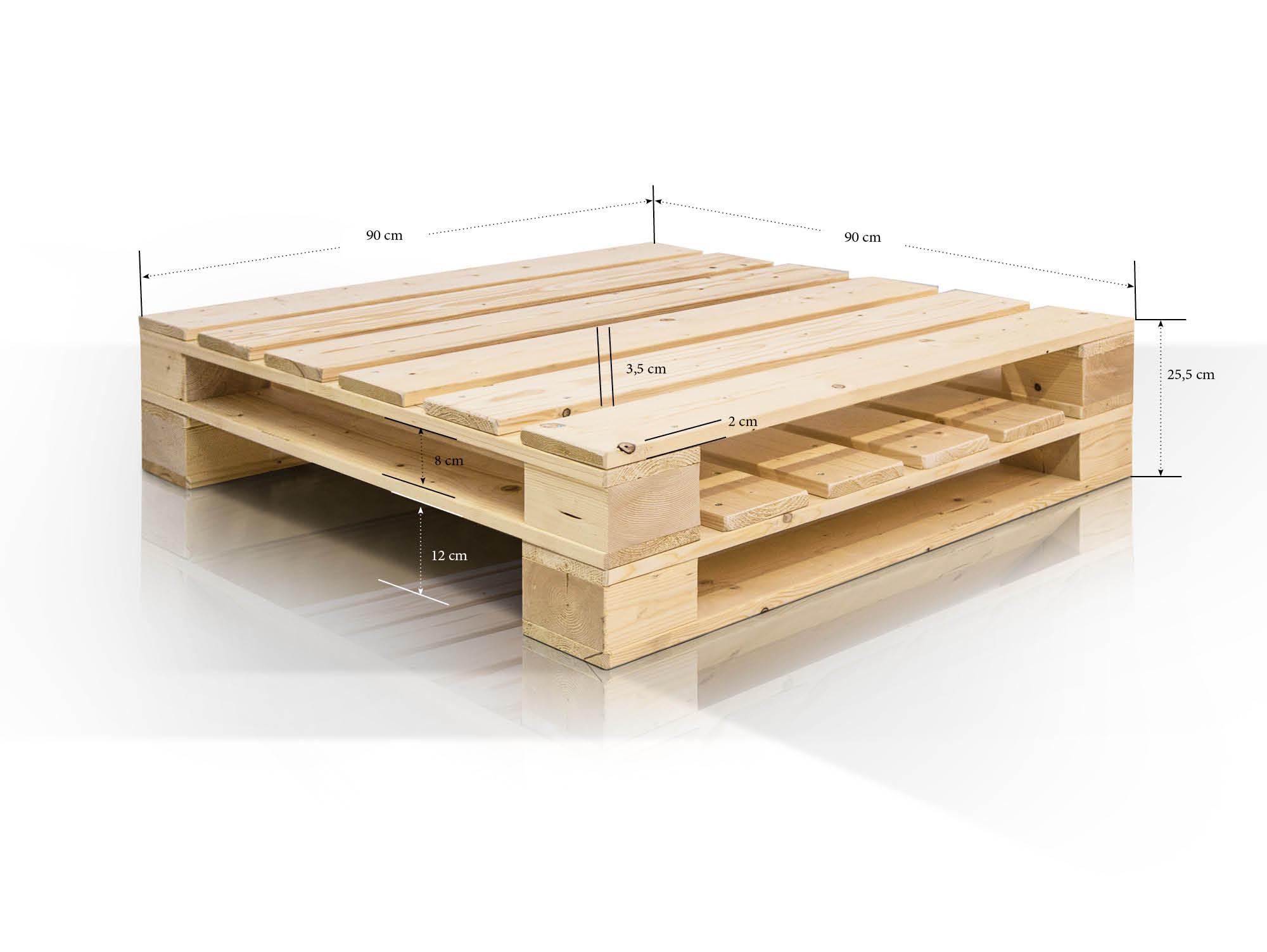 paletti couchtisch ii aus paletten 90x90 cm natur. Black Bedroom Furniture Sets. Home Design Ideas