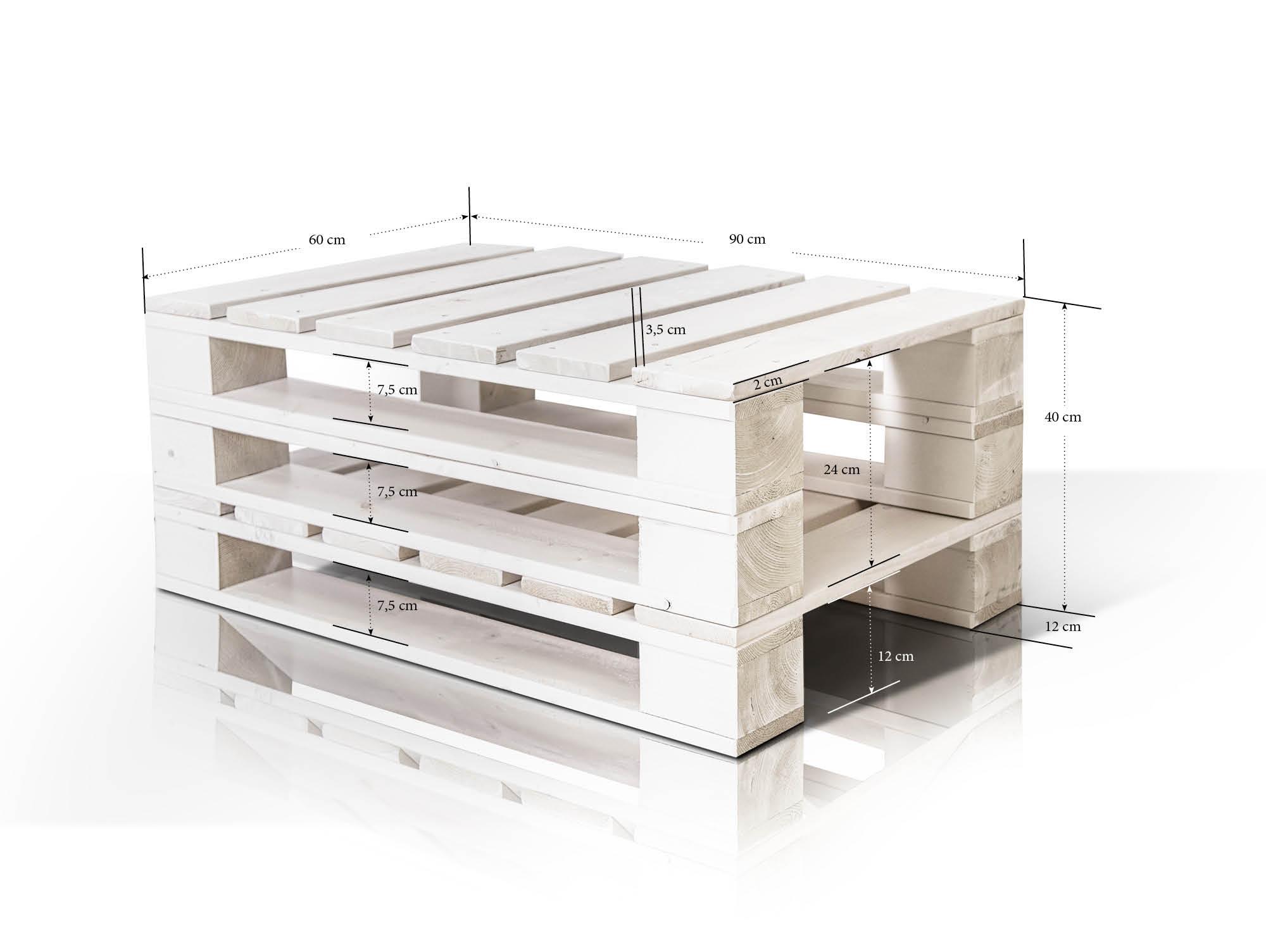 paletti couchtisch iii aus paletten 60x90 cm weiss lackiert. Black Bedroom Furniture Sets. Home Design Ideas