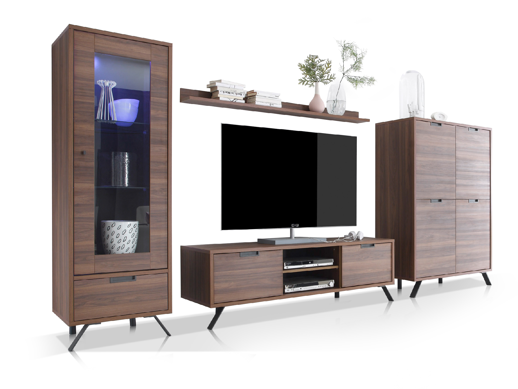 wohnwand nussbaum complex panorama moderne anbauwand. Black Bedroom Furniture Sets. Home Design Ideas