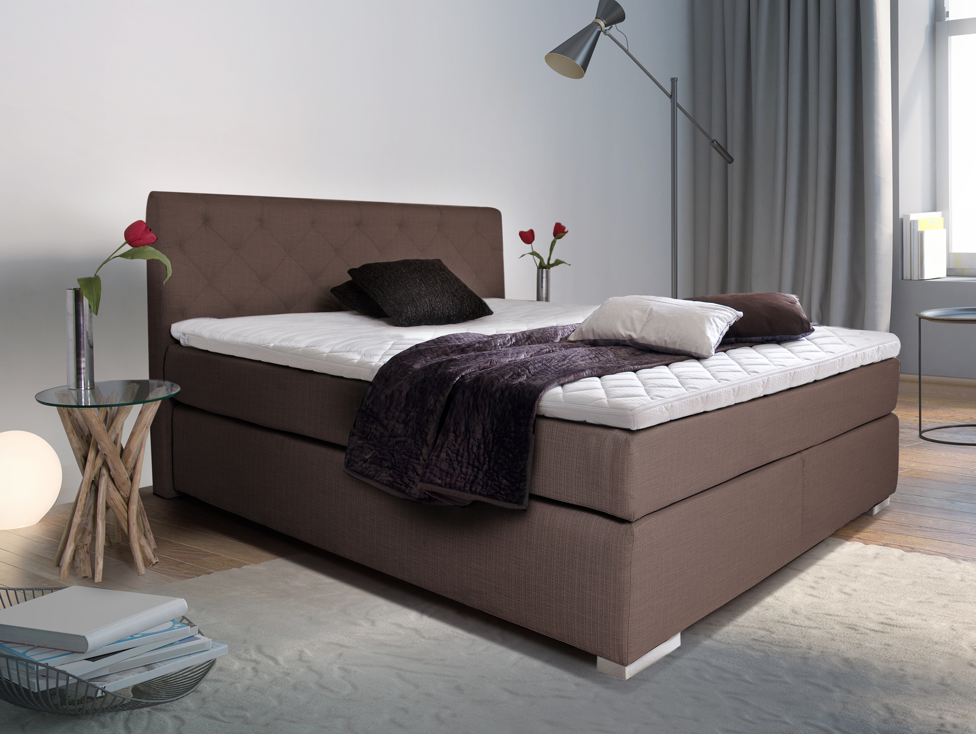 premium boxspringbett inkl kopfteil 180 x 200 cm altrosa h rtegrad 2. Black Bedroom Furniture Sets. Home Design Ideas