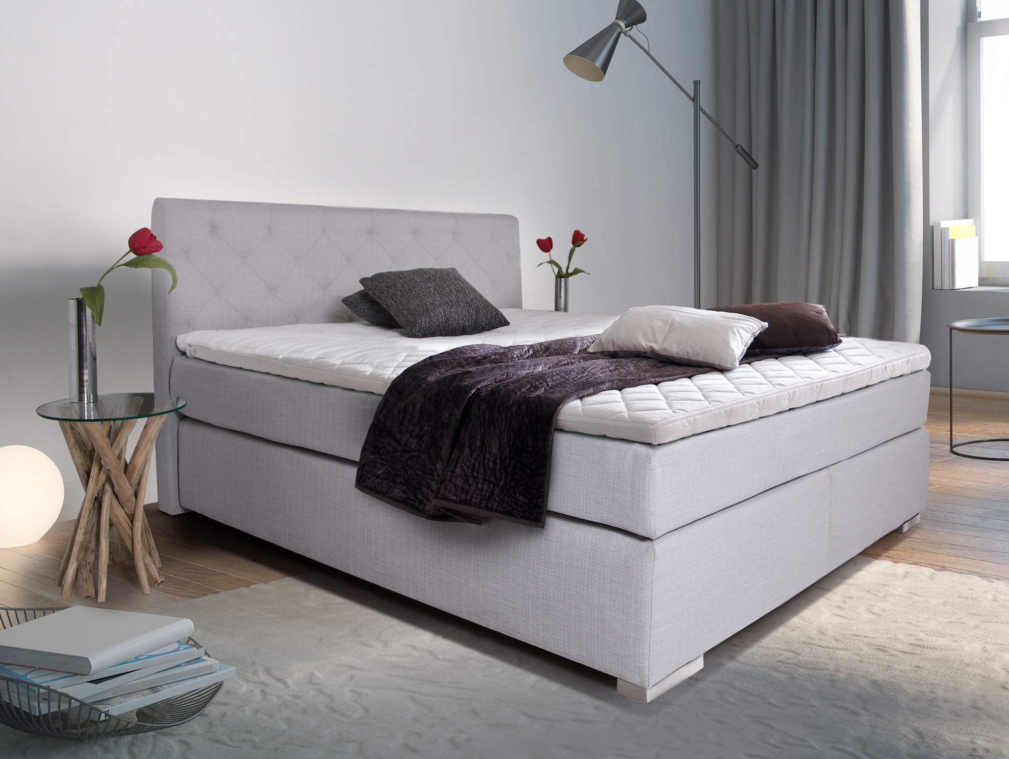 premium boxspringbett inkl kopfteil 100 x 200 cm grau h rtegrad 3. Black Bedroom Furniture Sets. Home Design Ideas