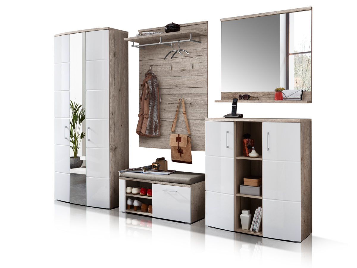 ronny garderobenset sandeiche wei hochglanz. Black Bedroom Furniture Sets. Home Design Ideas