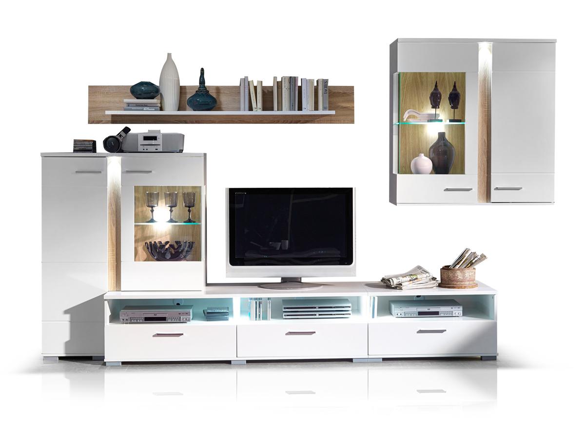 spots wohnwand anbauwand weiss sonoma eiche. Black Bedroom Furniture Sets. Home Design Ideas