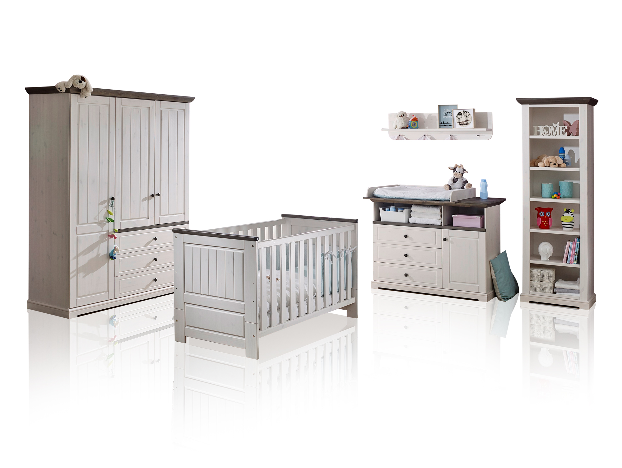 TINKA Babyzimmer, Material Massivholz, Kiefer weiss/grau