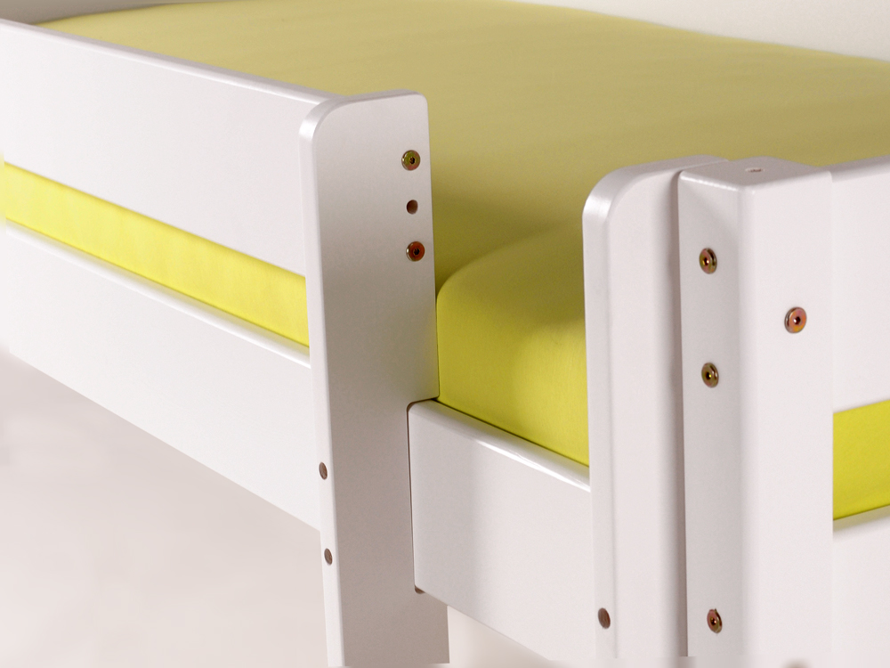 Etagenbett Weiß 90x200 : Yogi etagenbett mit leiter 90x200 kiefer weiß gerade